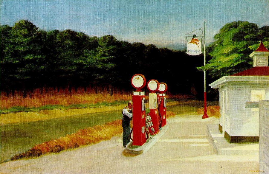 Edward Hopper (II)  :Gas station, or  The secrecy of space and time