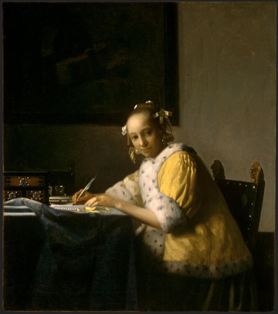 Vermeer: La donna che scrive una lettera. Quasi certamente, la modella è Catharina, la moglie.