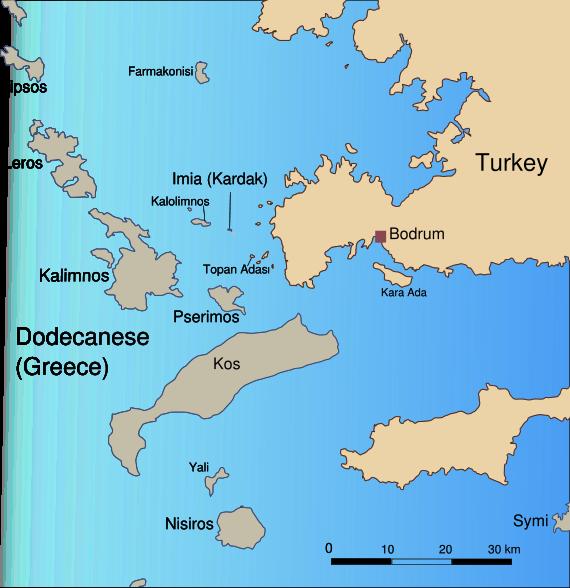 Isola di Farmacusa (oggi Farmaconisi) : dove i pirati ebbero la cattiva idea di rapire Cesare Caio Giulio.