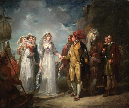 La Principessa di Francia arriva al Castello del Re di Navarra: stampa d'epoca.