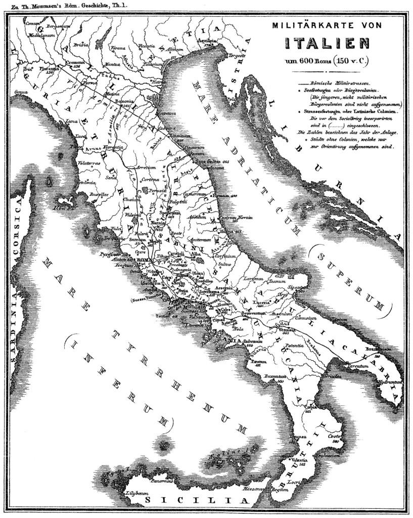 Penisola italica nel 150 a.C.