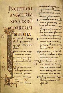 Napoleone e il Vangelo; Incipit del Vangelo di San Marco (antico codice latino)