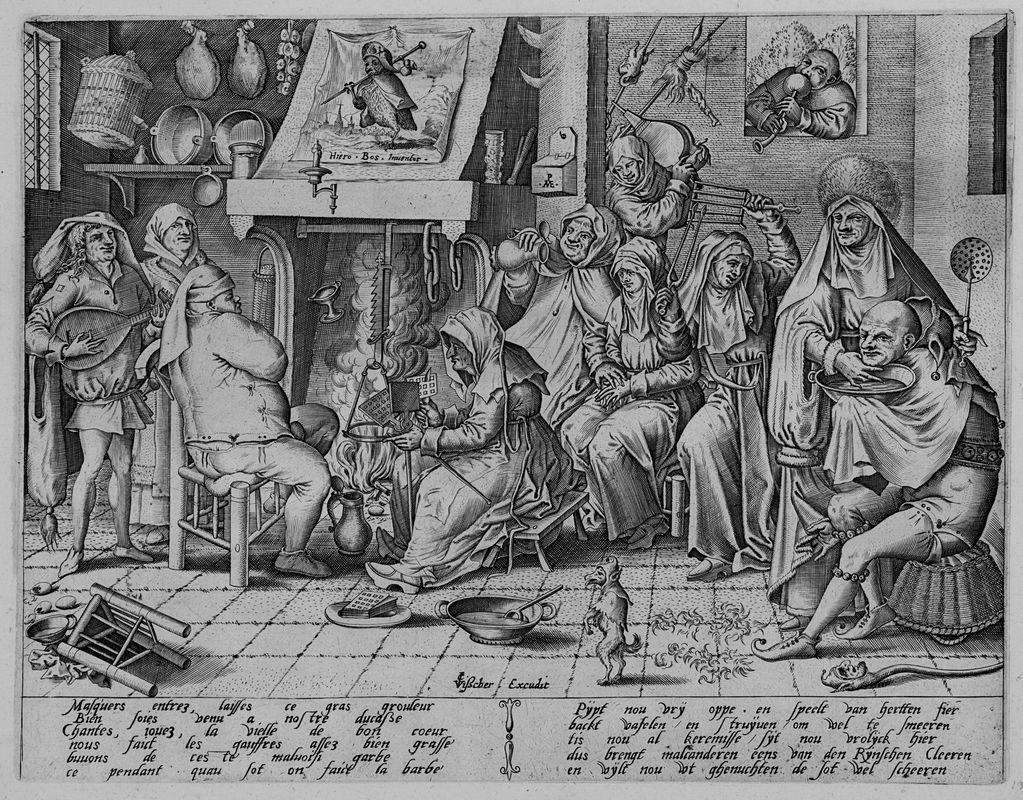 Brueghel (III) Hieronymus Bosch: Martedì grasso. Cucina olandese con la preparazione dei wafel.
