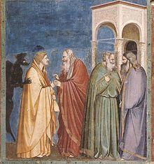 Pilato e Giuda (II): Giotto (Cappella degli Scrovegni). Giuda riceve il denaro da Caifa.