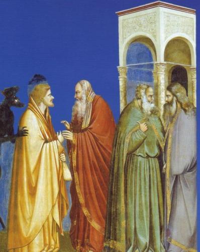 Pilato e Giuda (II). Giotto, Cappella degli Scrovegni : Il diavolo dietro Giuda
