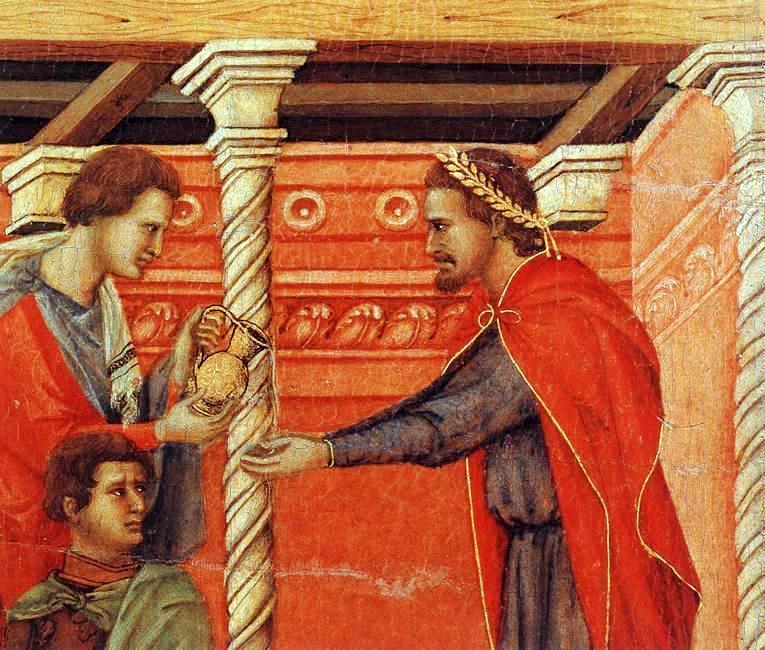Pilato e Giuda (II) . Duccio di Boninsegna: Pilato riceve Gesù.
