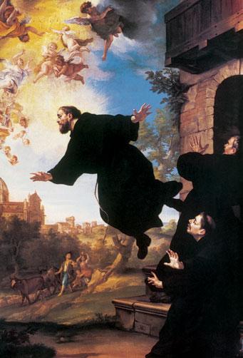 San Giuseppe da Copertino in lievitazione davanti alla Santa Casa di Loreto