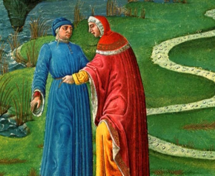 Omaggio a Dante (I): Belacqua Virgilio cinge D con il giunco simbolo di umiltà su consiglio di Catone