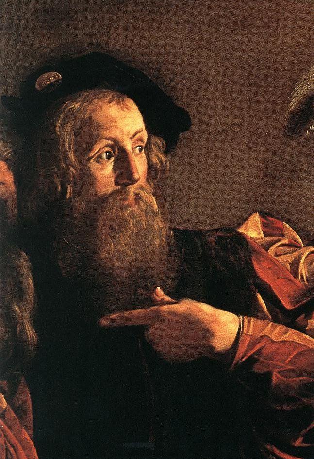 Michelangelo Merisi (Caravaggio): Vocazione di San Matteo ; particolare San Matteo chiede a Gesù: <Stai chiamando me ?>