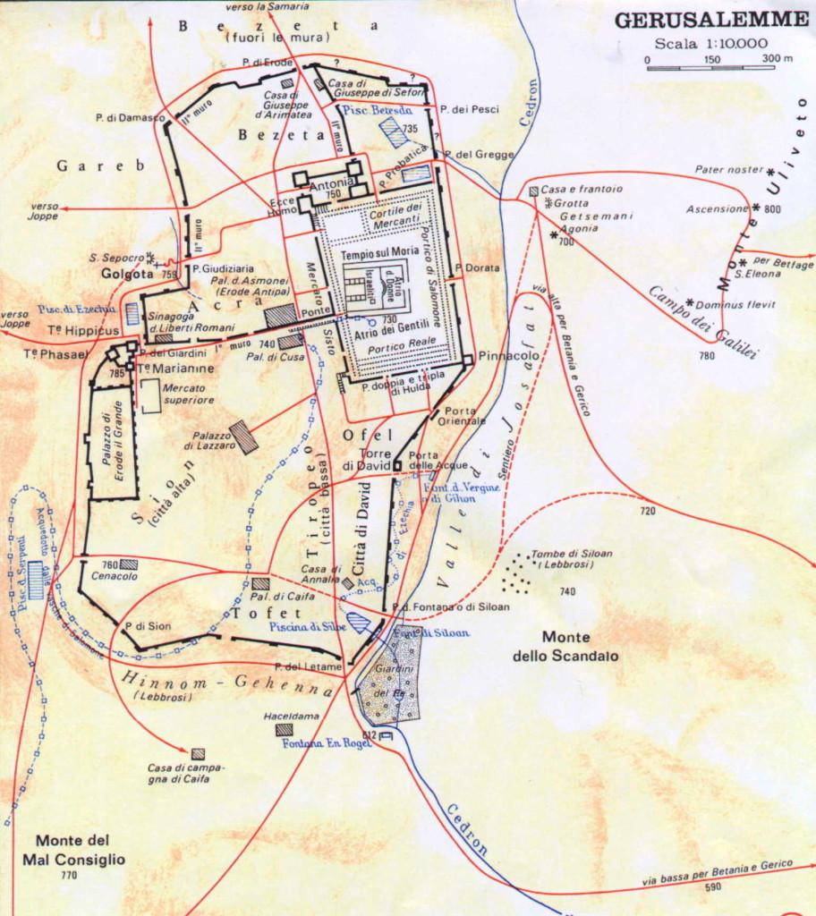 Pilato, Giuda e Matteo (I):  Gerusalemme grande mappa
