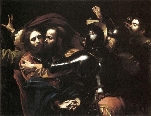 (Michelangelo Merisi)- Caravaggio-Cattura-di-Cristo-nell'orto - <L'ora delle tenebre>