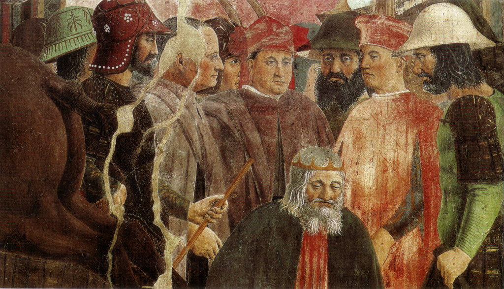 """Piero, il Pittore dell'Ineloquenza (V) - Esecuzione di Cosroé (particolare dell'affresco """"La Battaglia di Eraclio e Cosroé)"""