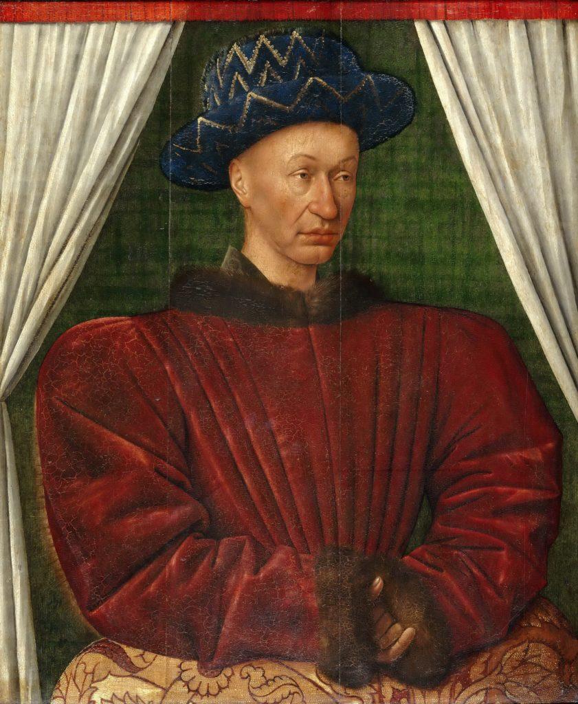 Giovanna d'Arco (2) - Il Delfino (poi Re ) Carlo VII d'Angiò . Ritratto di Jean Fouquet