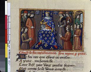 Carlo VII sul trono - miniatura XV secolo