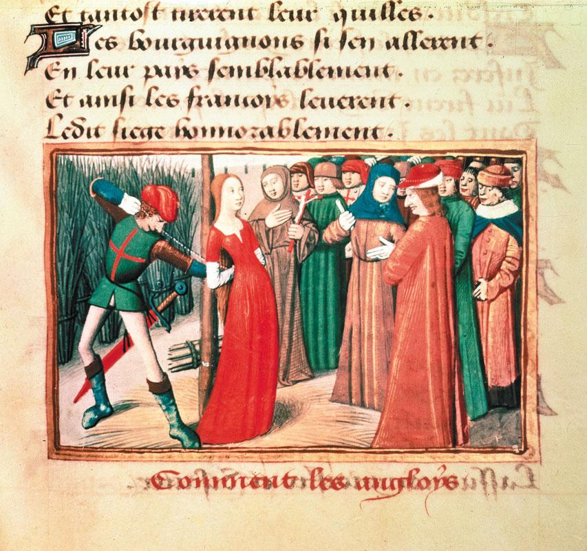 Jeanne in una miniatura del XV secolo BNF