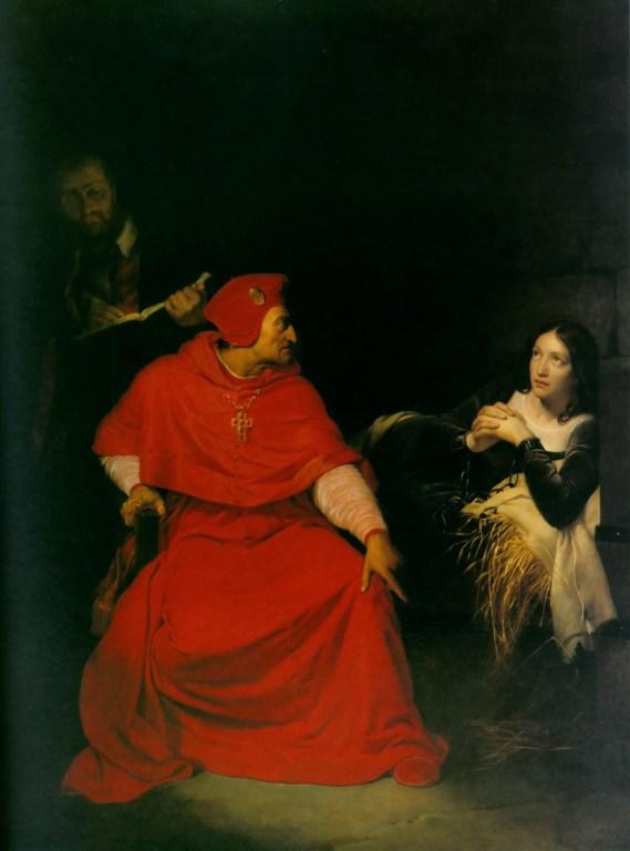 Jeanne d'Arc est interrogée par le cardinal de Winchester dans sa prison (1824). Udienze Segrete a del Processo : un'infamia!