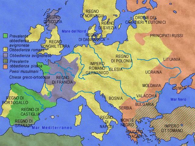 Il Grande Scisma d'Occidente. La situazione religiosa in Europa. La Francia appoggiava Avignone, a cui si opponevano l'Inghilterra e Roma
