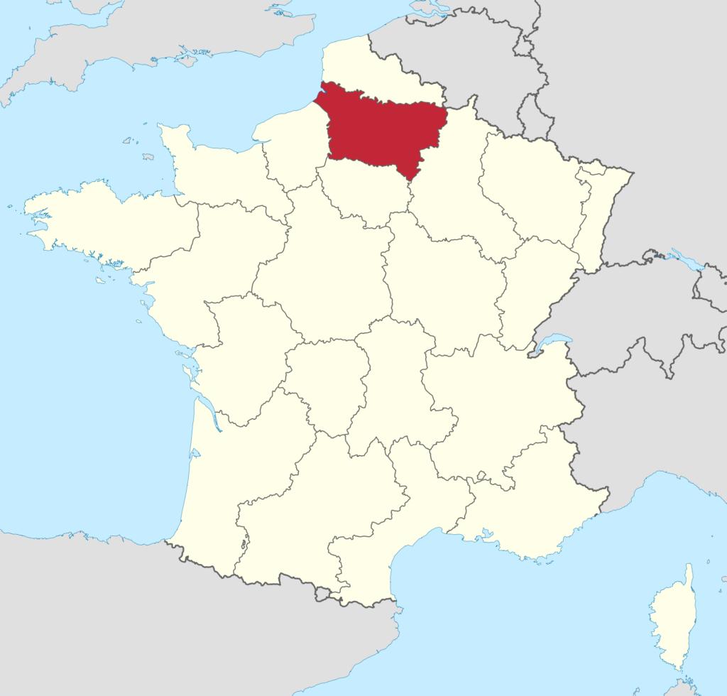 Piccardia : cartina geografica della Francia attuale
