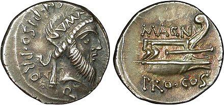 6) Cesare era dietro Catilina? Moneta con immagine del Generale Gneo Pompeo Magno