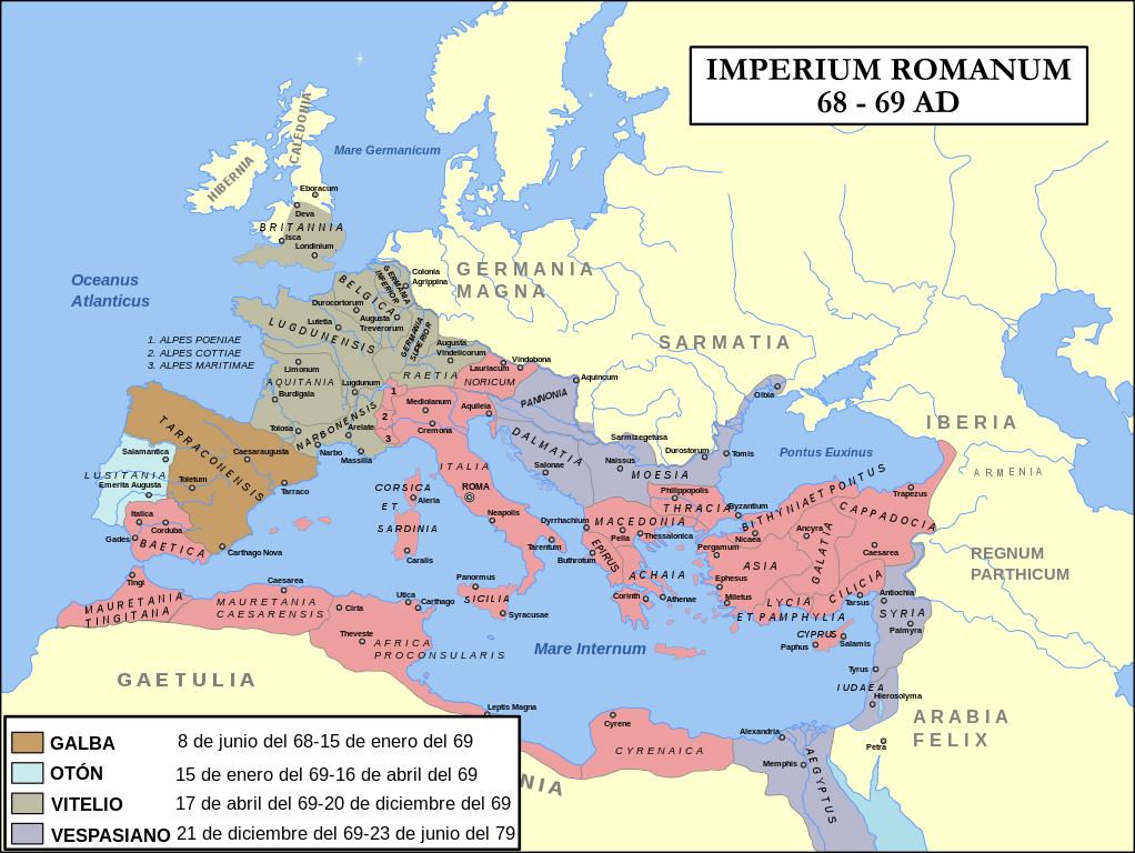 Impero Romano, nell'anno 69 d.C.