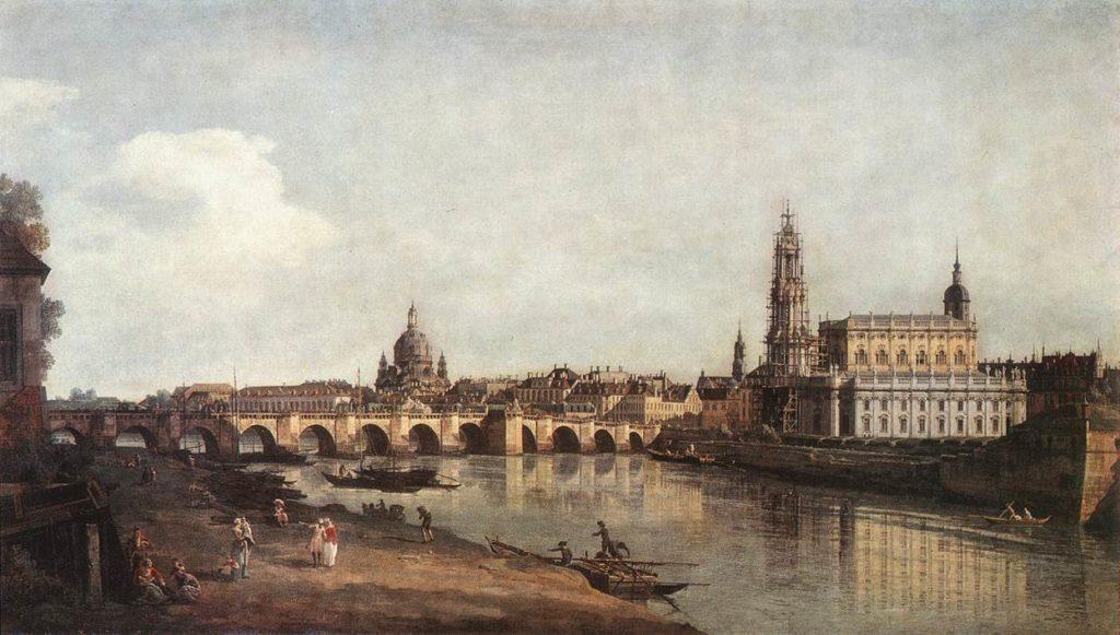 Bernardo Bellotto Veduta di Dresda da sotto il Ponte di Augusto