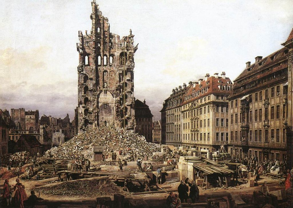 Bernardo Bellotto: Dresda-Le rovine della Kreutzkirche dopo il bombardamento dei Prussiani