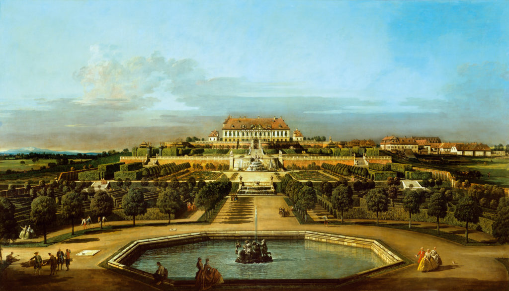 Bernardo Bellotto :The-schloss-hof-garden-side-1758