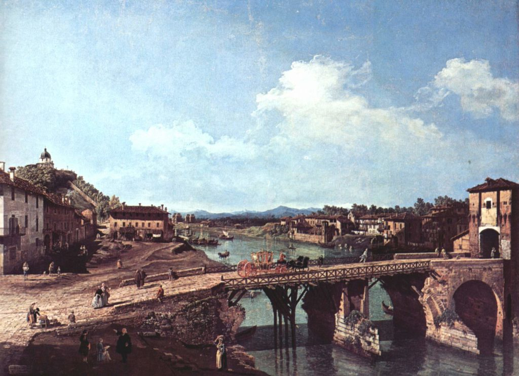 Bernardo Bellotto: Veduta del Vecchio Ponte sul Po a Torino