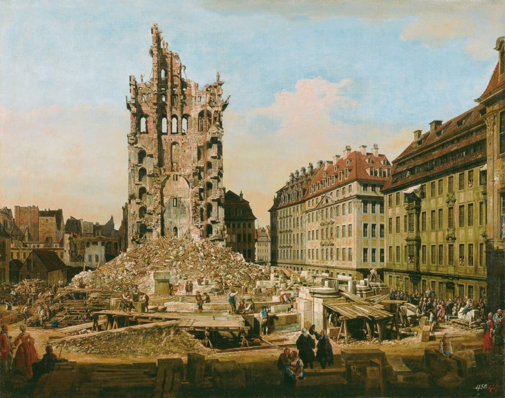 Bernardo_Bellotto,_il_Canaletto_-_Le_rovine_del_vecchio_Kreuzkirche,_Dresda - Chiesa distrutta durante la Guerra Intertedesca, in particolare per l'attacco Prussiano