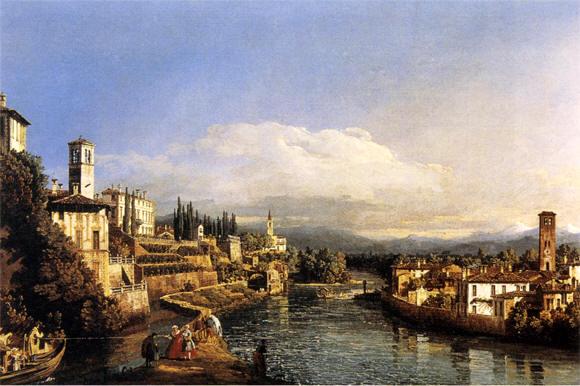 Bernardo  Bellotto Veduta di Vaprio e Canonica Lombardia