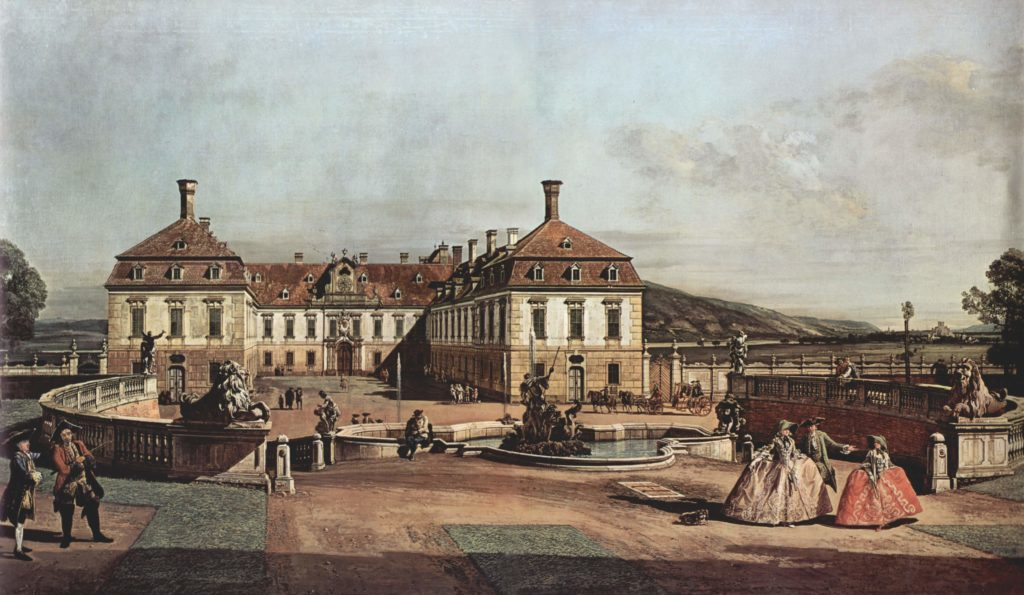 Bernardo Bellotto Vienna the-imperial-summer-residence-courtyard-1758