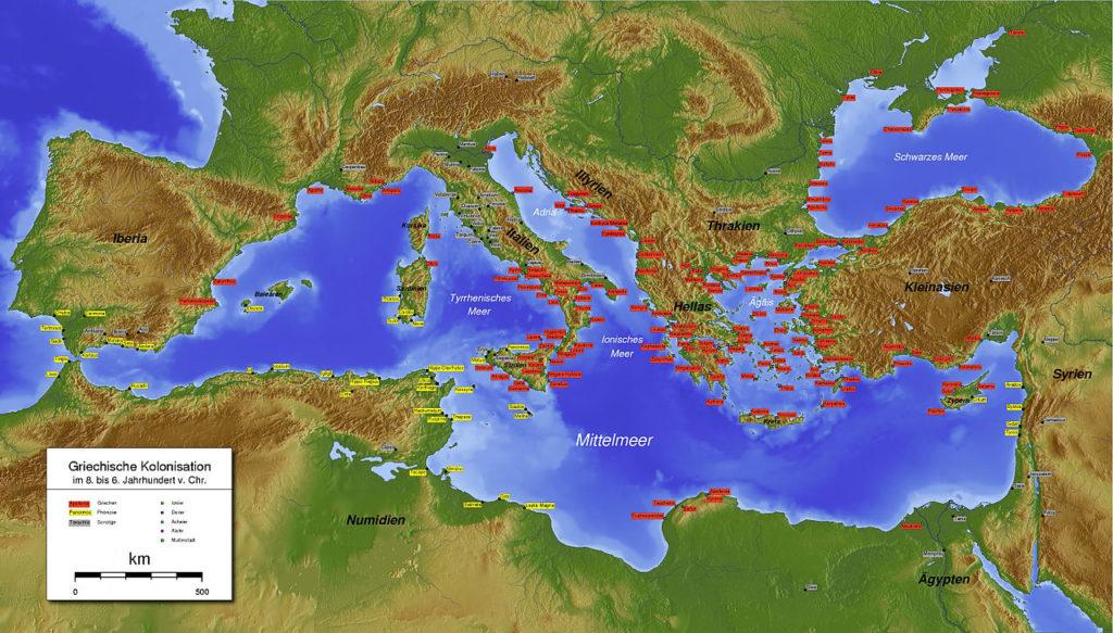 Platone! (1)- Colonizzazione Greca in Occidente, nel IV sec. a.C., ai tempi di Platone.