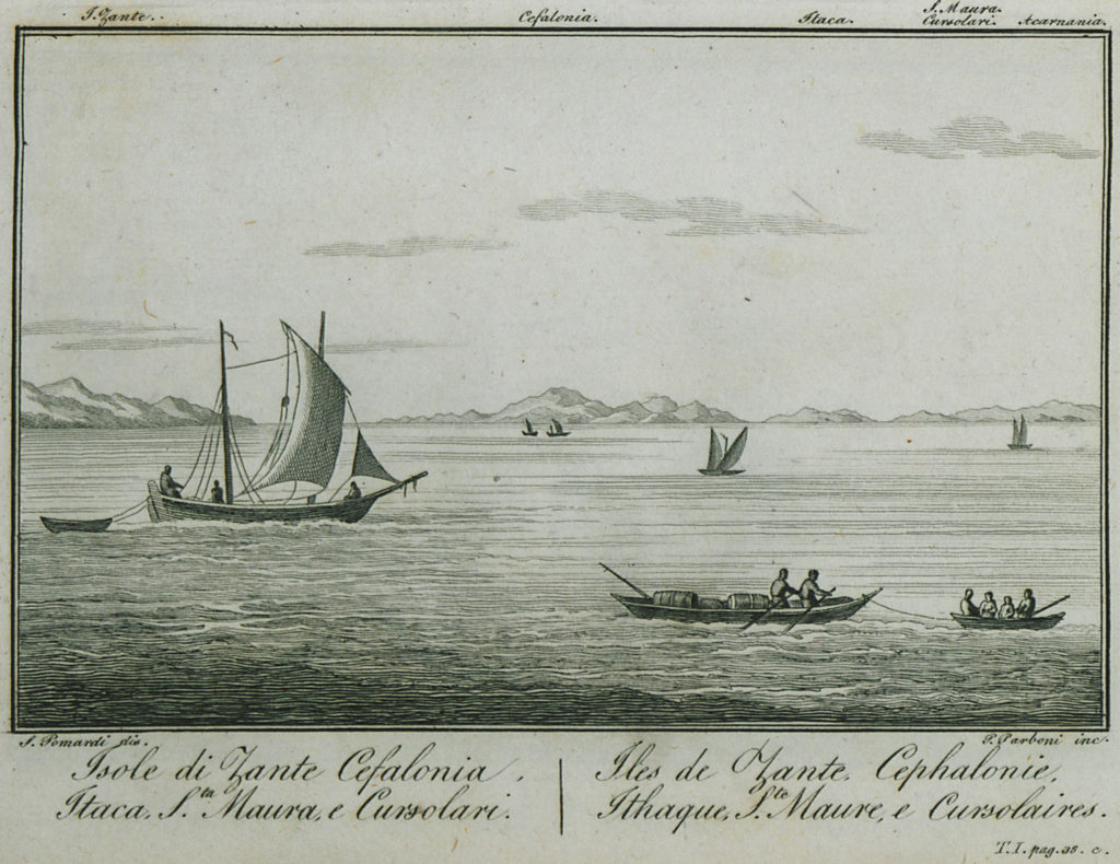Itaca, Zante, Cefalonia, in una stampa di Simone Pomaroli (1820)