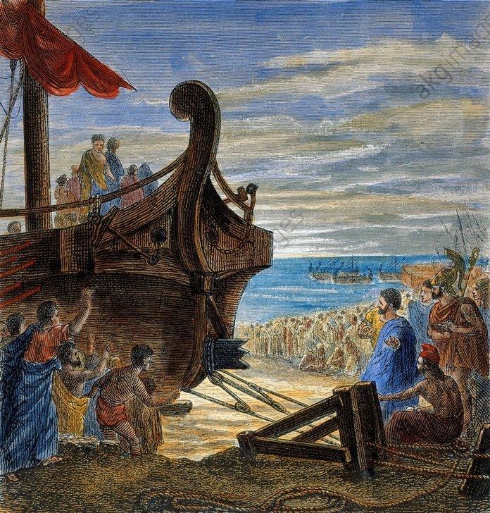 Archimede, illustre Siracusano, dimostra il teorema della leva che solleva una nave