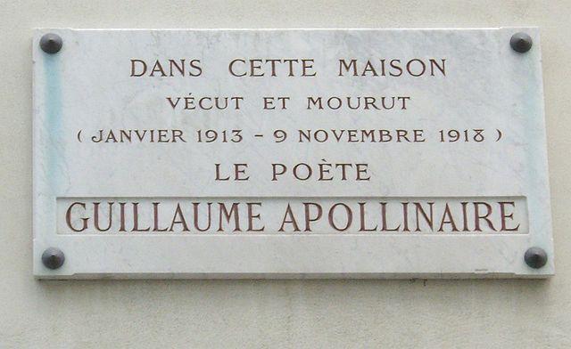 Guillaume  Apollinaire: Targa Commemorativa