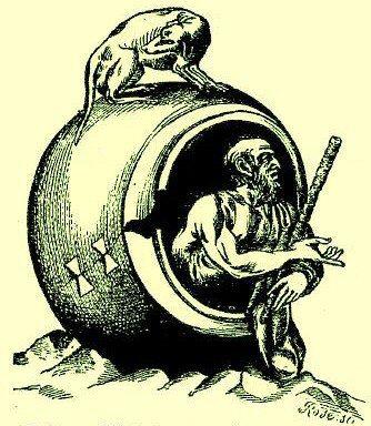 Diogene_nella_botte (Caricatura)