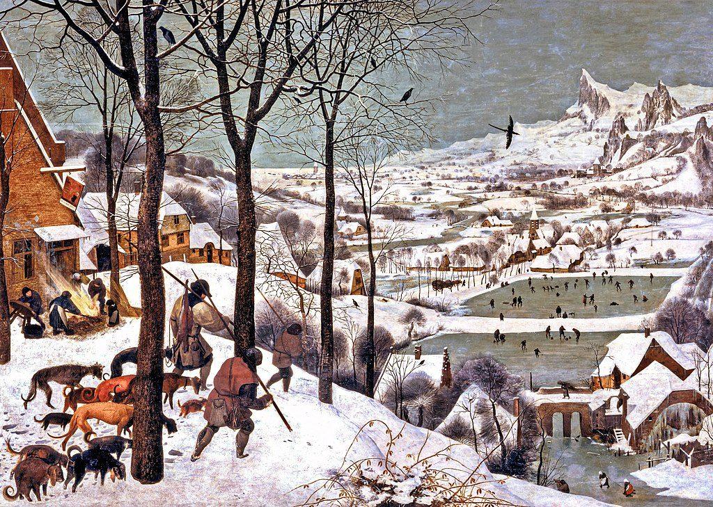 """Pieter Brueghel il Vecchio: Cacciatori nella neve. Il Paesaggio può rendere l'idea della descrizione che Kafka fa nel racconto """"Ein Landarzt"""" sulla campagna, dopo una tempesta di neve."""