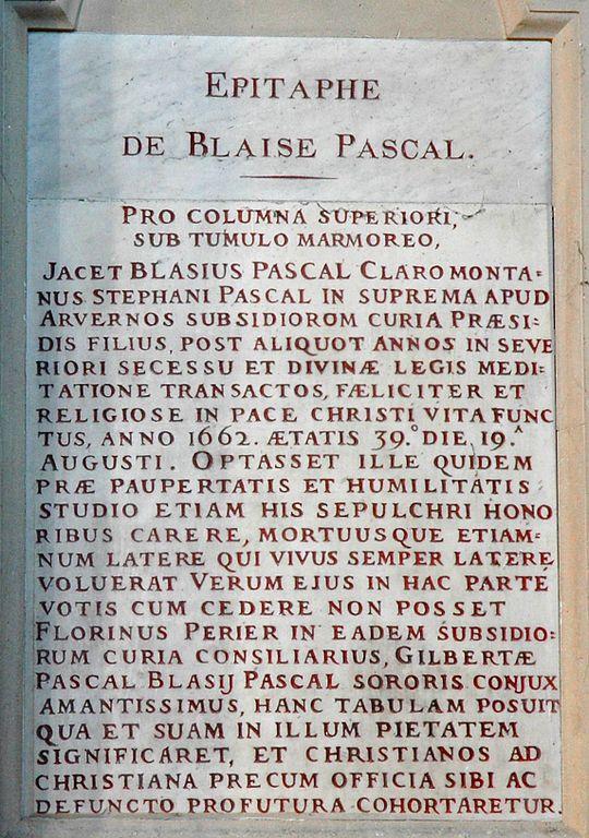 Epitaffio per Blaise Pascal (Saint-Etienne)